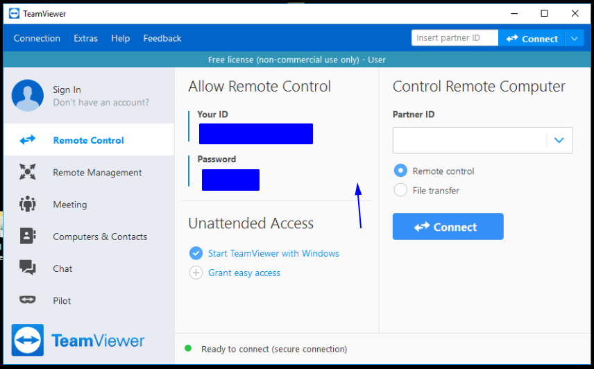 Configure TeamViewer 14 with a Personal Password and grant